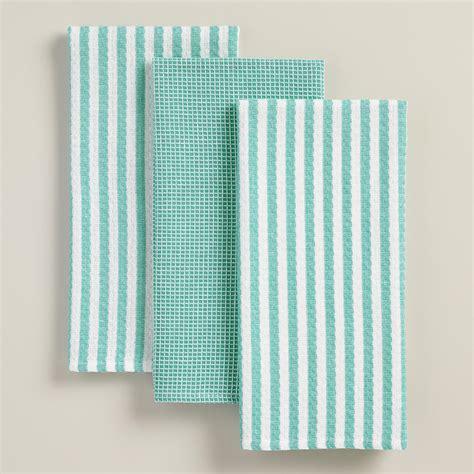 Waffle Weave Kitchen Towels by Aqua Waffle Weave Kitchen Towels Set Of 3 World Market