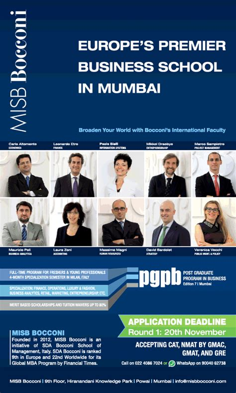 Mba Business Schools In Mumbai by Post Graduate Programme In Business Europes Premier