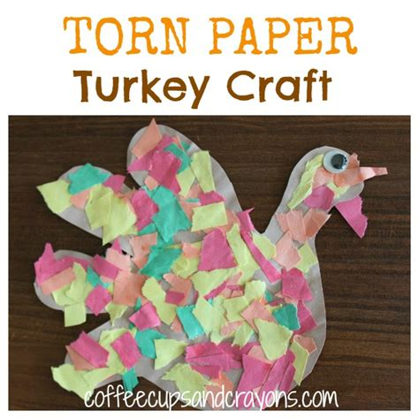 Paper Tearing Craft - thanksgiving craft torn paper turkeys coffee cups