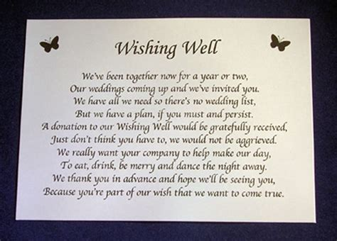 wedding invitation poems for money gifts personalised wishing well money request poem gift cards for wedding invitations ebay