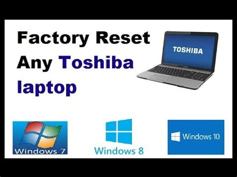 how to reset toshiba satellite laptop to factory settings without cd