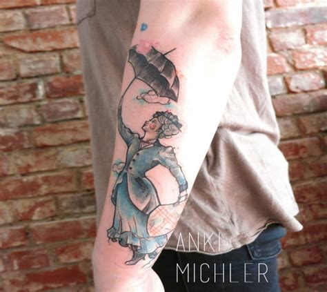 diy tattoo armrest simple homemade style arm tattoo of woman with umbrella