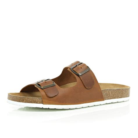brown sandals for lyst river island brown leather buckle sandals in