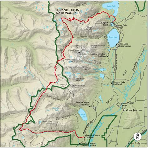 grand teton national park map best grand teton national park hike trail map national