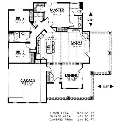 Adobe Floor Plans Adobe Southwestern Style House Plan 3 Beds 2 Baths 1700 Sq Ft Plan 4 102