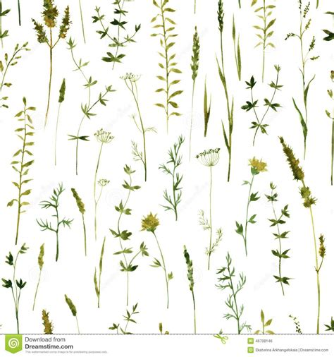 grass pattern drawing seamless pattern with flowers and grass stock vector