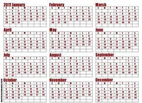 2017 Calendar Whole Year Blank 2017 Year Calendar