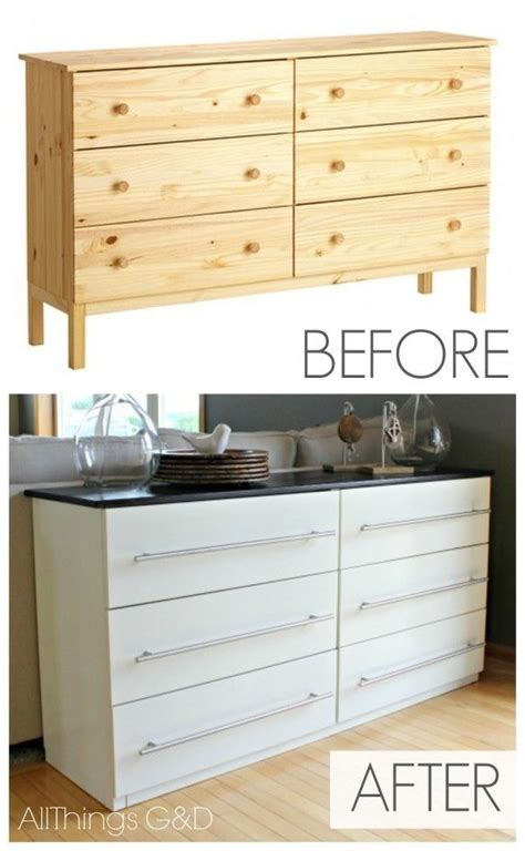 37 cheap and easy ways to make your ikea stuff look expensive transform a tarva dresser 149 into a kitchen sideboard