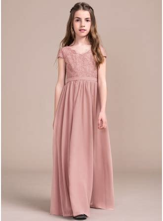 A Line/Princess V neck Floor Length Chiffon Lace Junior