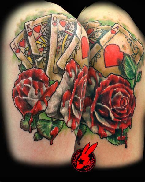 tattoo fixers bunny alice wonderland cards roses tattoo jackie rabbit by
