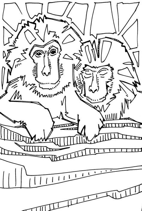 japanese macaque coloring page macaque coloring download macaque coloring