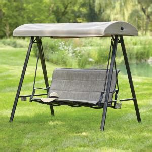 Hton Bay Outdoor Swing hton bay statesville 3 person padded sling outdoor swing with canopy gss00227b the home depot