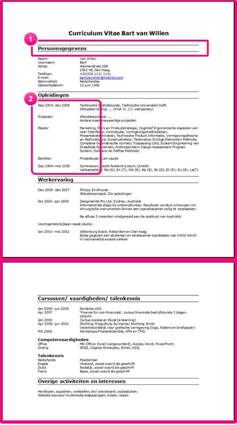Studenten Cv Sjabloon Cv Layout Cv