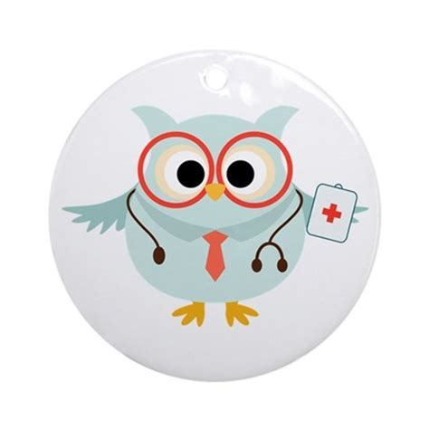 Lq 18 Cp Owl owl doctor ornament by peacockcards