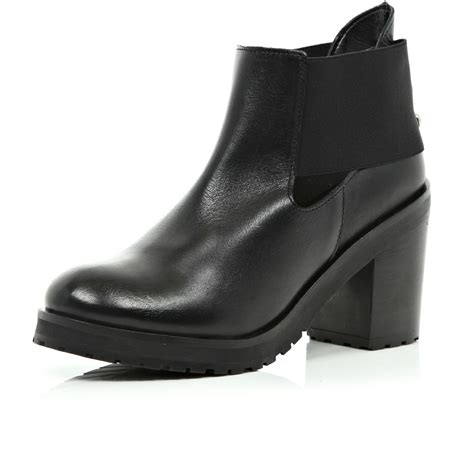 river island black cut out block heel ankle boots in black