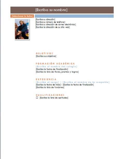 Plantilla De Curriculum Vitae Word 2010 Ejemplo De Curriculum Vitae Tema Intermedio Ejemplos Modelos Formatos Plantillas Word 2010