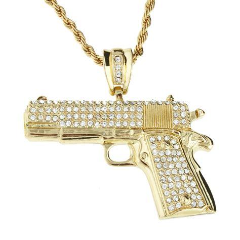 Bling Bling iced out bling hip hop kette pistole gold anh 228 nger