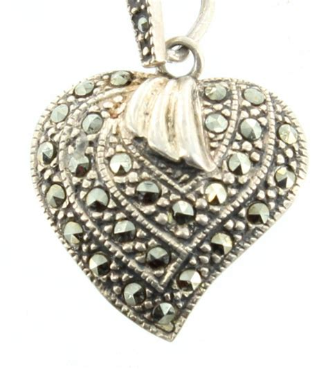 vintage sterling marcasite pendant necklace single