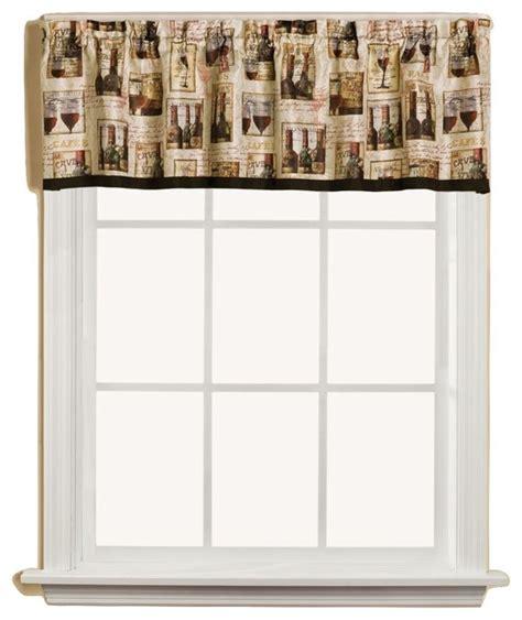 Vino Wine Bottles Kitchen Curtain   Traditional   Curtains
