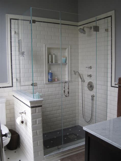 bathroom with subway tile bathroom niche for beveled subway tile