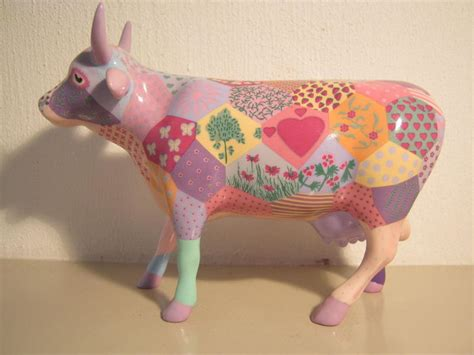 Patchwork Cow - ruth green voor cowparade porseleinen koe medium
