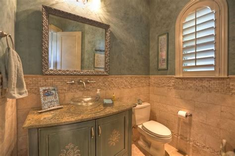 Tile Wainscoting Pool Bath With Textured Glass Vessel Sink Venetian