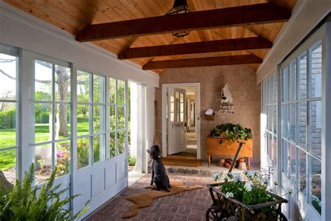 breezeway ideas entry traditional with benches beadboard ceiling