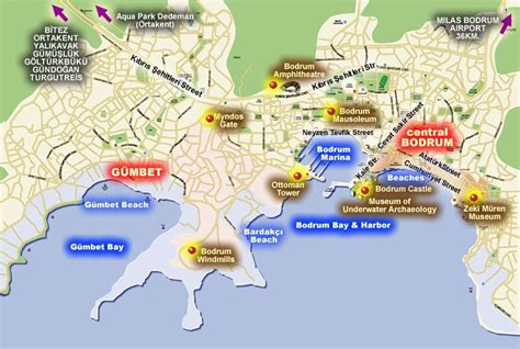 sights map historical in bodrum