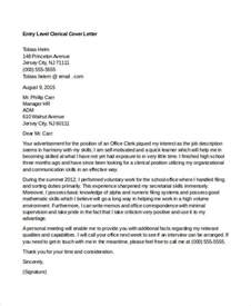 Clerical Cover Letters by 10 Clerical Cover Letter Templates Free Sle Exle Format Free Premium