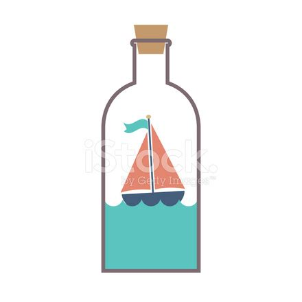 sailboat in a bottle sailboat in a glass bottle vector illustration stock