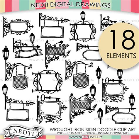 doodle sign in wrought iron sign doodle clip signs clipart