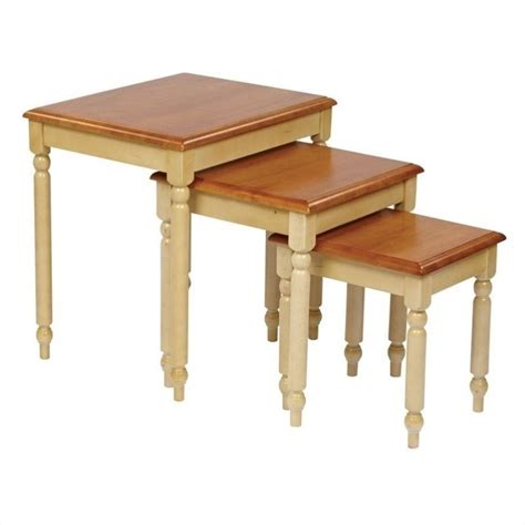 office country cottage 3 pc antique yellow nesting