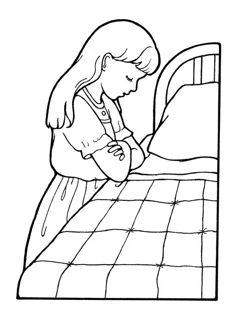 lds coloring pages praying girl praying at her bedside