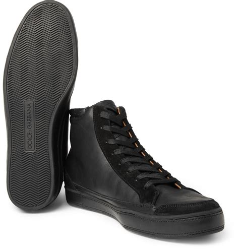 dolce gabbana leather and suede high top sneakers