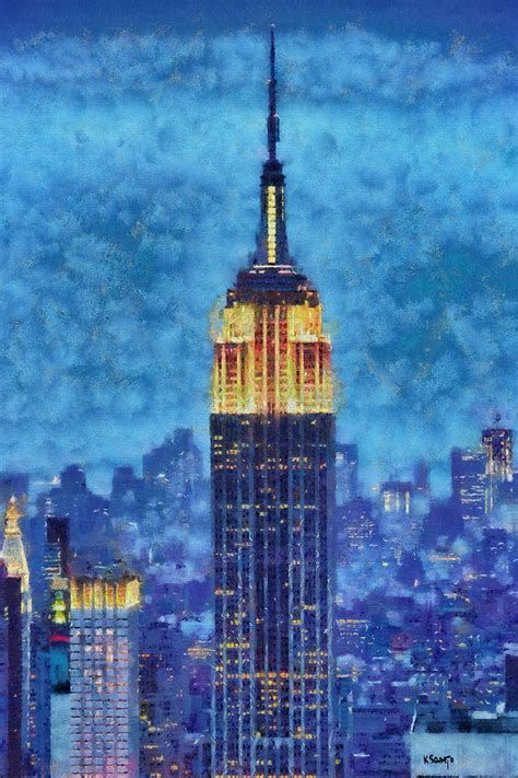 building painting empire state building by night painting by kai saarto