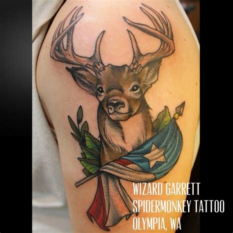 spidermonkey tattoo beautiful deer by wizard garrett spidermonkey