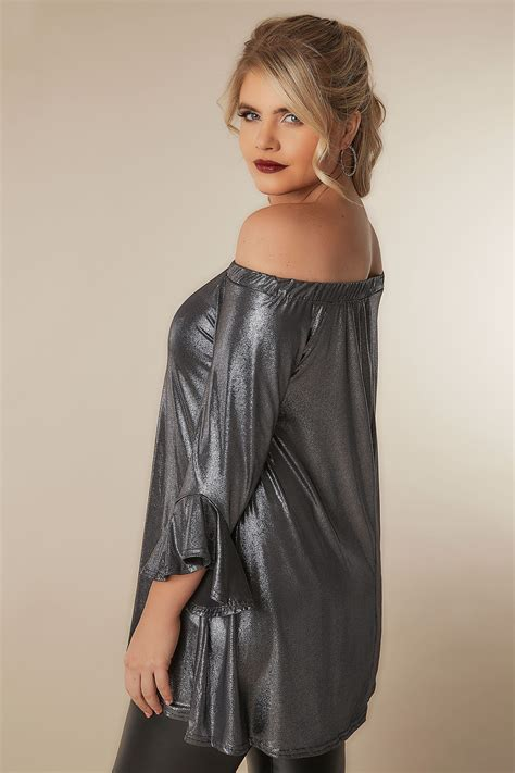 Sale Foil Angka Big Size Silver Gold limited collection metallic silver bardot top with flute sleeves plus size 16 to 32