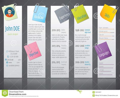 cool modern curriculum vitae cv resume with labels and