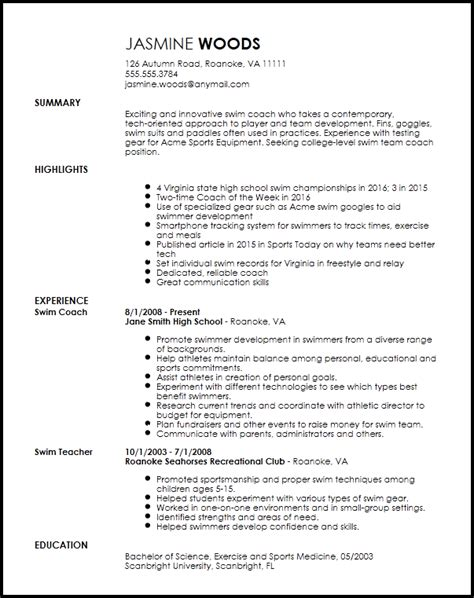 Coaching Resume Template by Sports Resume Template Resume And Cover Letter Resume