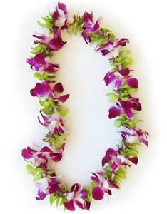 Lei Hawaiian Flowers - close window single strand purple and green orchid lei