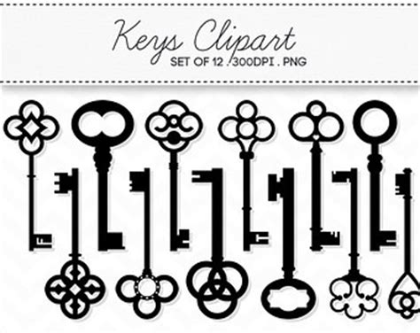 Ta Ta Key Rack K 10 vintage key clipart digital skeleton instant