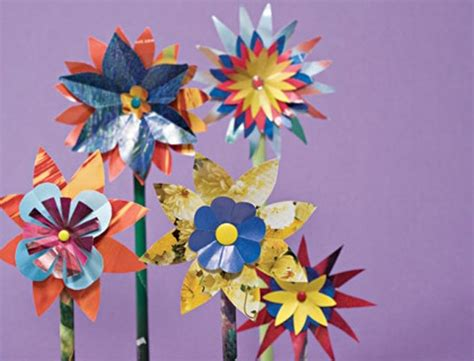 Paper Flower Craft For Children - crafts for how to make glossy paper flowers