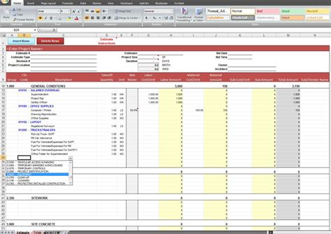 construction estimate excel template general construction estimate template cost construction