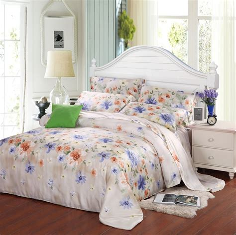 designer bed sheets luxury blue floral queen king size bedding set silk sheets