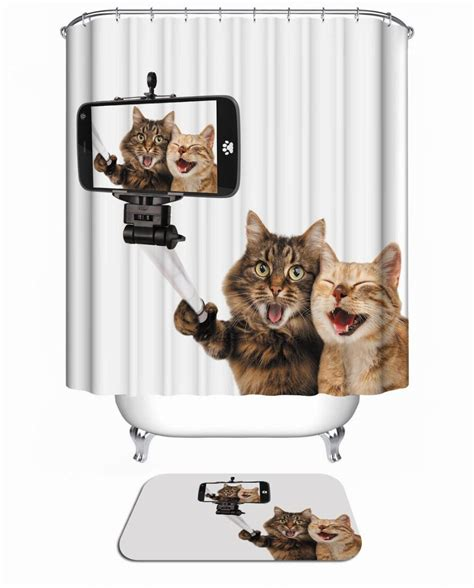 cat shower curtain hooks bath curtain for bathroom custom funny christmas shower