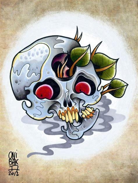 new school skull tattoo design plant new school skull design best designs