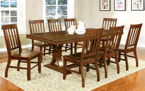 piece foster  rectangular dining set  dark oak finish