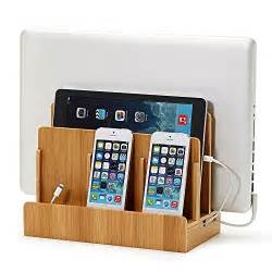 Tablet Charging Station by Great Useful Stuff 194 174 Wood Multi Device Charging Station
