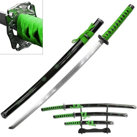 Pedang Samurai Katana Black Greend new 3 green katana sword display set with stand