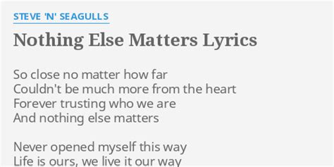 no else matters quot nothing else matters quot lyrics by steve n seagulls so